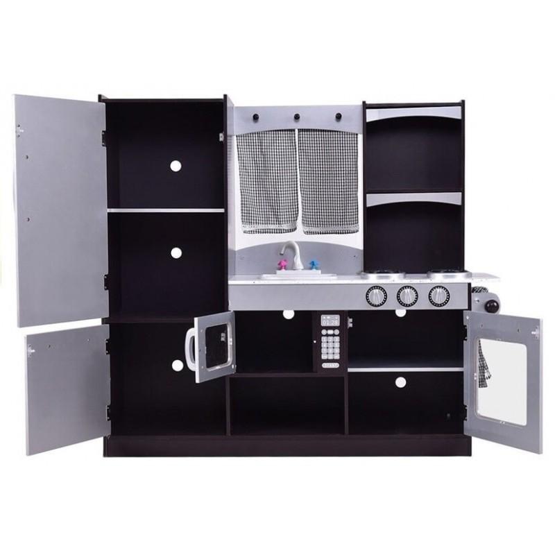 Medinė virtuvėlė sidabrinė/juoda
