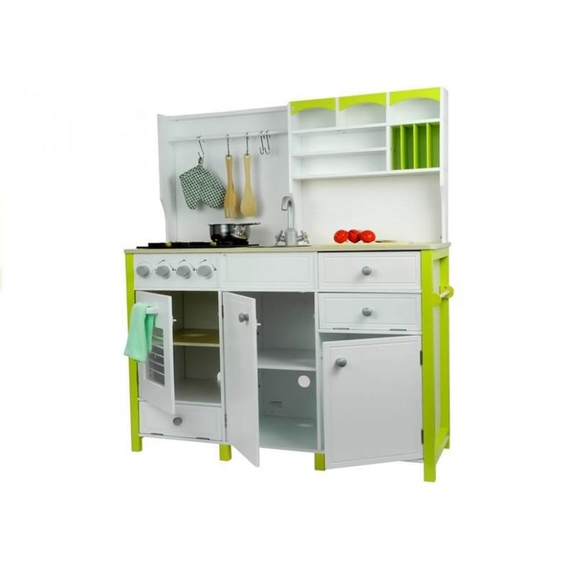 Medinė virtuvėlė balta/žalia