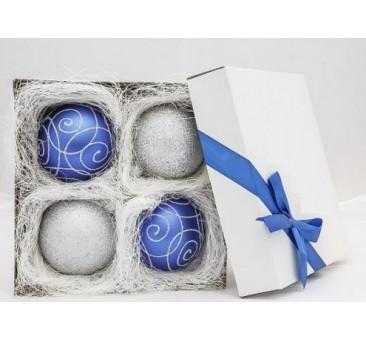 Mėlynas - sidabrinis žaisliukų rinkinys 8 cm