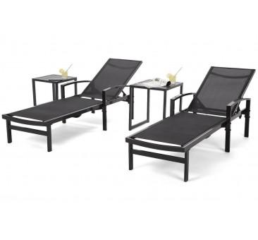 Lauko gultai ARAVELA BLACK + staliukai