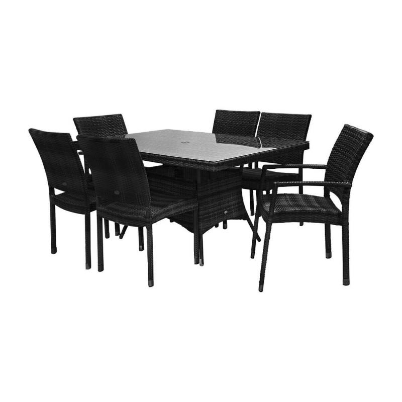 Lauko baldai WIKER BLACK 4+2
