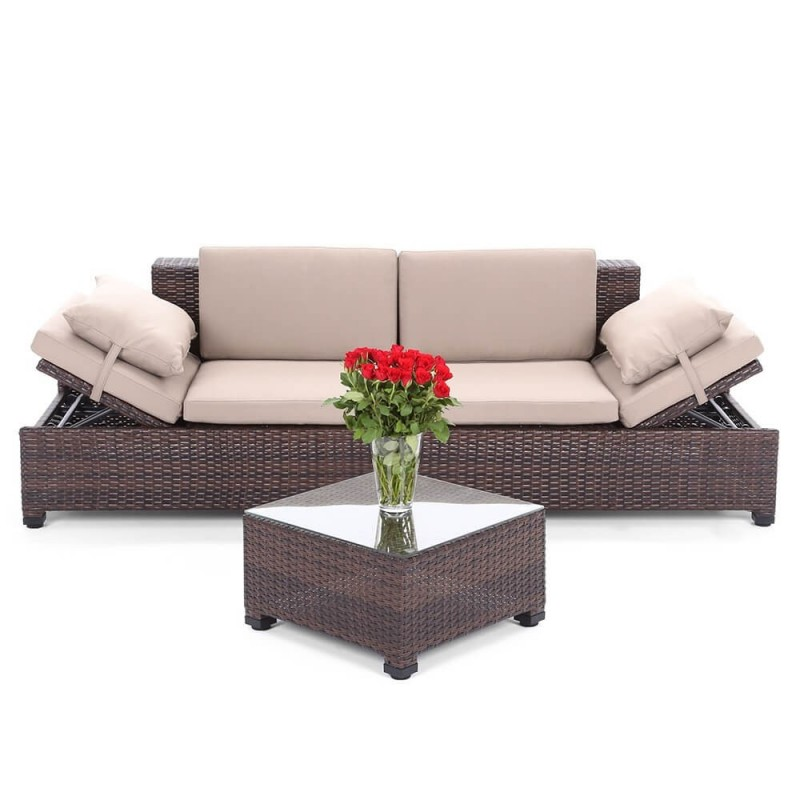 Dvi lauko sofos MILANE BROWN + staliukai