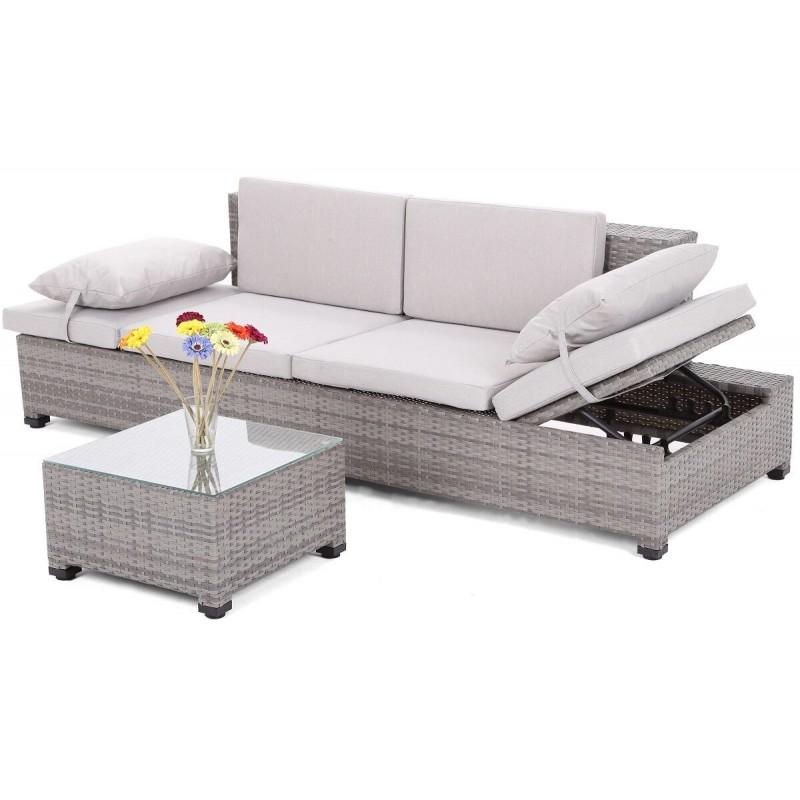 Dvi lauko sofos MILANE GREY + staliukai