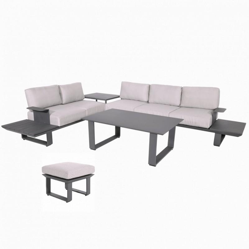 Lauko baldų komplektas ESPRESI ROCK + pufas