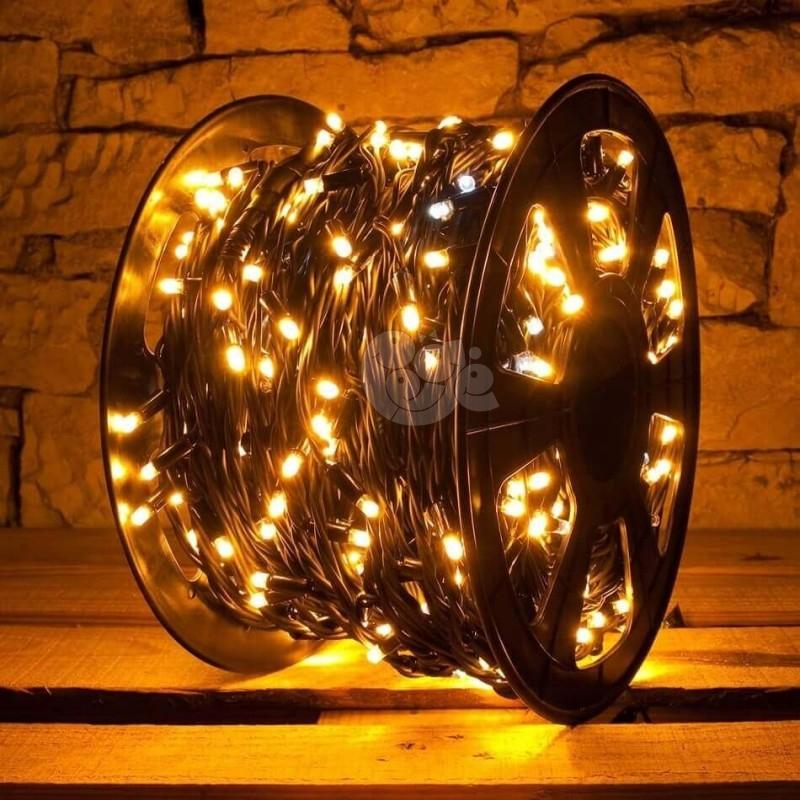 LED girlianda 100 m 600 diodų šiltai balta FLASH