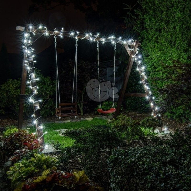 LED girlianda 100 m 1000 diodų šaltai balta FLASH