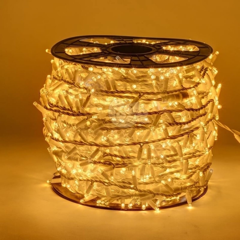 LED girlianda 100 m 2000 diodų šiltai balta