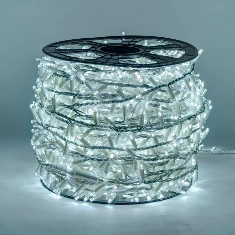 LED girlianda 100 m 2000 diodų šaltai balta