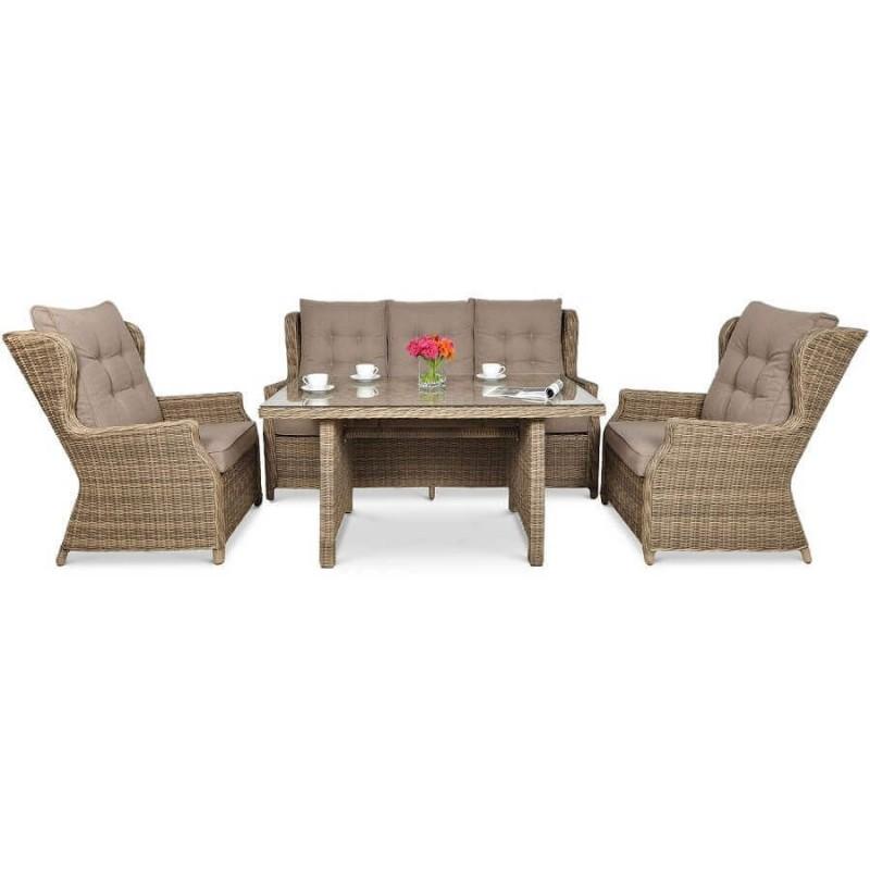 Lauko baldų komplektas TRAVENTO DINING 3 + PUFY BROWN