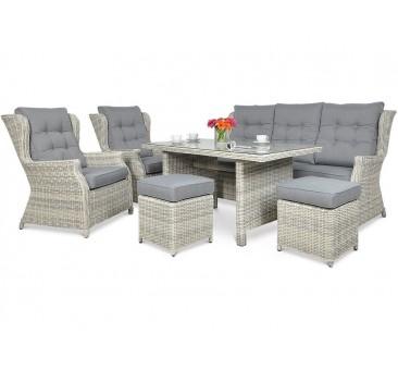 Lauko baldų komplektas TRAVENTO DINING 3 + PUFY WHITE GREY