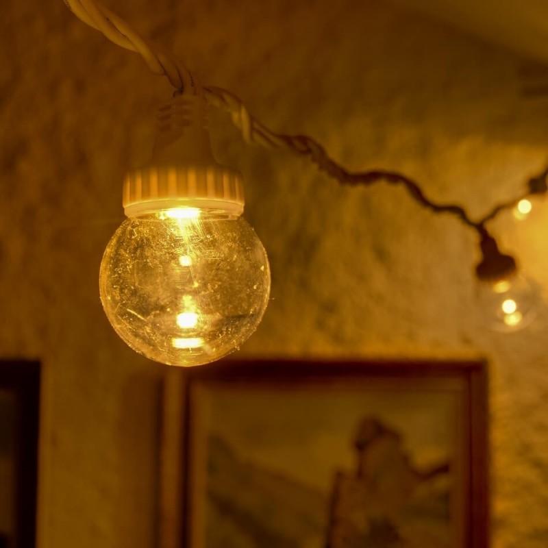 LED skaidri burbulinė girlianda 5 m šiltai balta