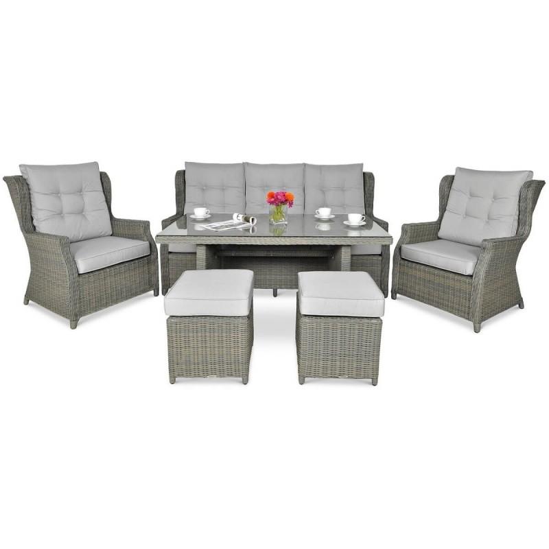 Lauko baldų komplektas TRAVENTO DINING 3 + PUFY GREY