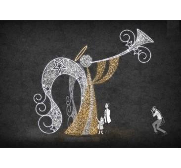 3D dekoracija LED ANGELAS SU TRIMITU 6 m