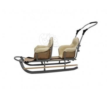 Dvivietės rogutės pilkos spalvos su sėdynėm