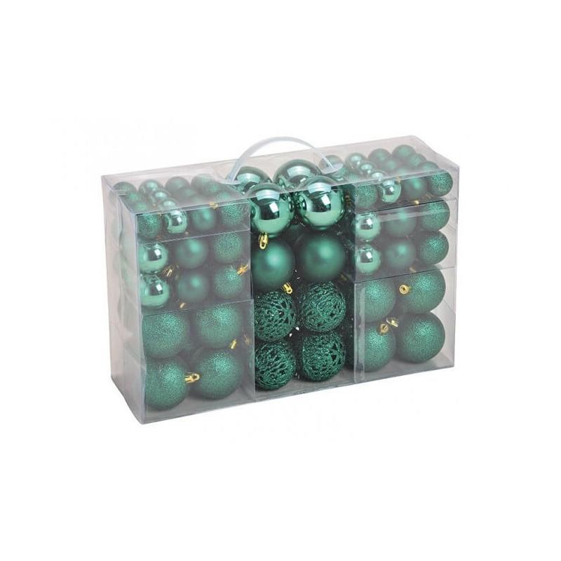 Žaisliukų eglutei rinkinys, plastikiniai, 100 vnt, Ø3/4/6cm