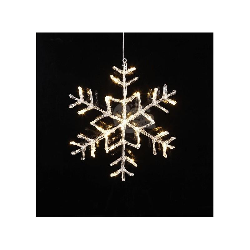 LED lauko šviečianti snaigė 40 cm, 24 LED, šiltai balta