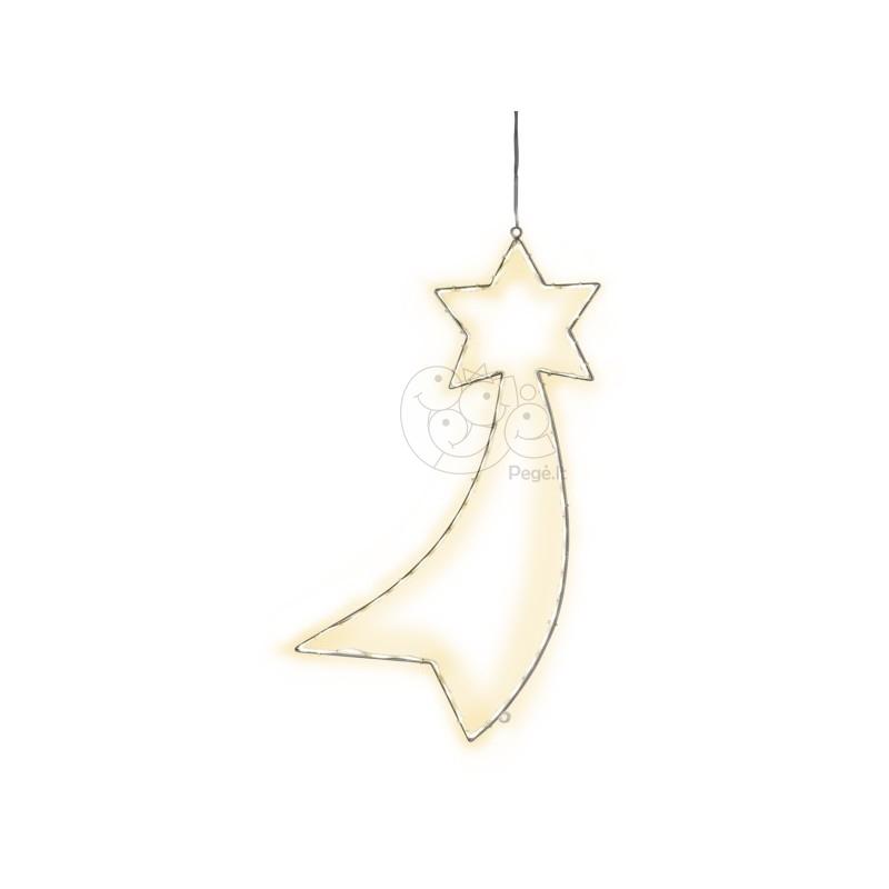 LED lauko krentančios žvaigždės dekoracija, 60 cm, 54 LED, šiltai balta