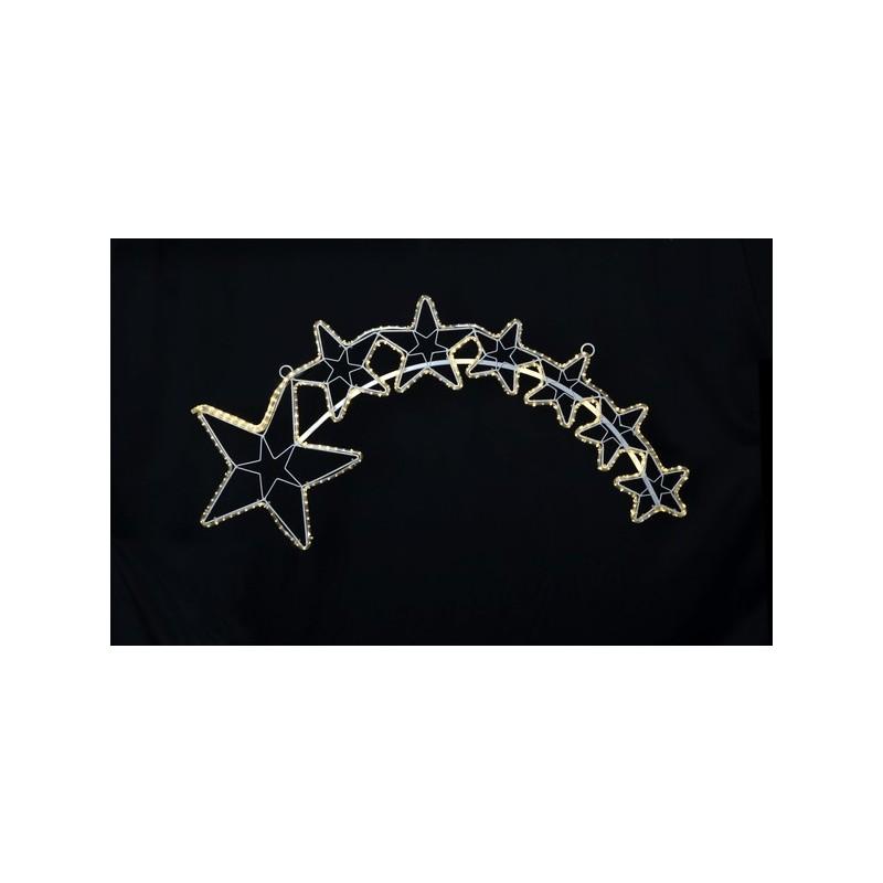 LED lauko krentančių žvaigždžių dekoracija, 102 cm, 300 LED, šiltai balta
