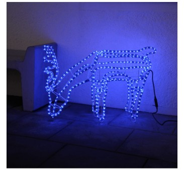 3D dekoracija elnias, 85/59 cm, 432 LED, mėlynas