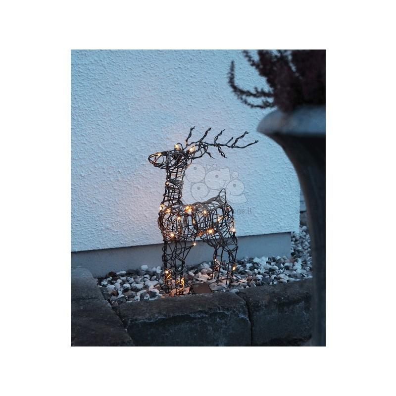 3D dekoracija elnias, 55/36 cm, 24 LED, rudas