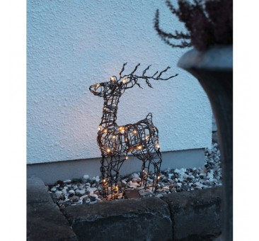 3D dekoracija elnias, 90/53 cm, 64 LED, rudas