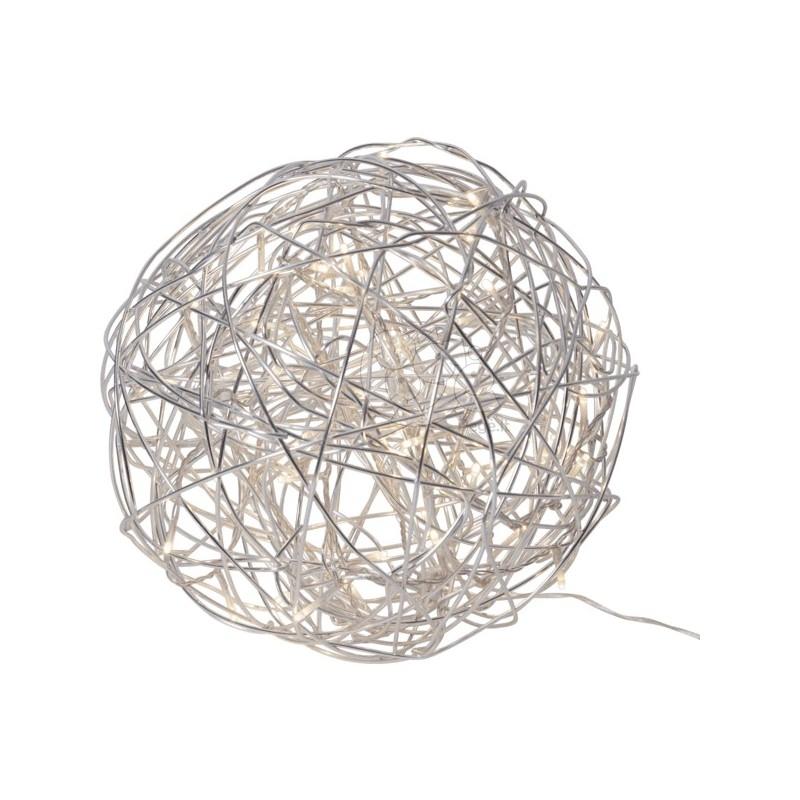 Sidabriniai kamuoliniai šviestuvai su LED dekoracija, šiltai balta, 100 LED
