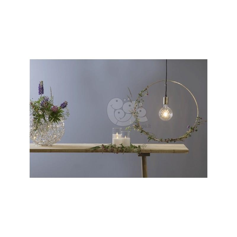 Sidabriniai kamuoliniai šviestuvai su LED dekoracija, šiltai balta, 150 LED