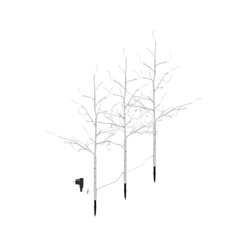Balti šviečiantys dekoratyviniai medžiai, 48 LED, 75 cm