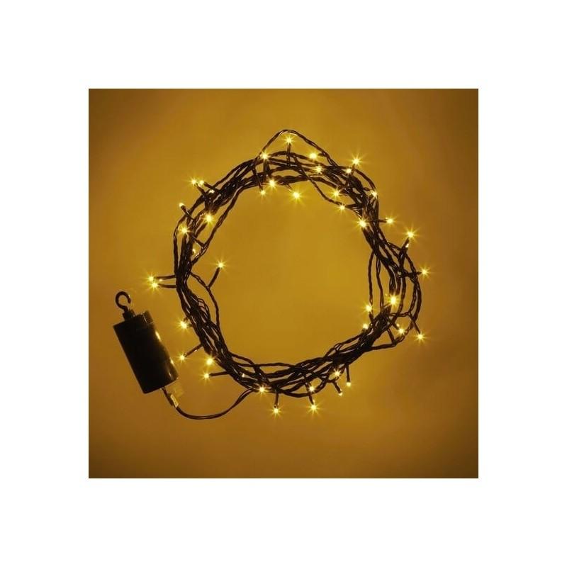 Šviečianti LED girlianda su baterijomis (šiltai baltos spalvos)