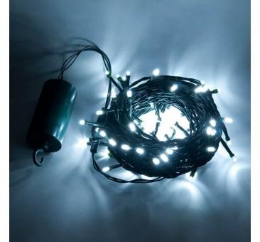 Šviečianti LED girlianda su baterijomis (šaltai baltos spalvos)