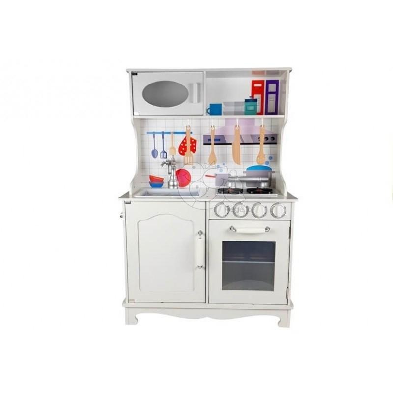 Balta medinė virtuvėle su priedais