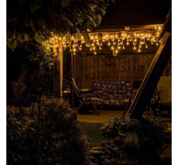 Lauko girlianda varvekliai 60 LED su FLASH, 3m., H 0,5 m, šiltai balta