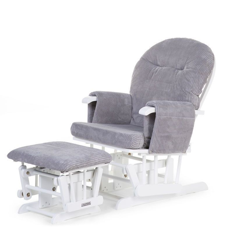 Supamas krėslas maitinančiai CHILDHOME CHAIR WHITE + GREY RIBBED VELVET