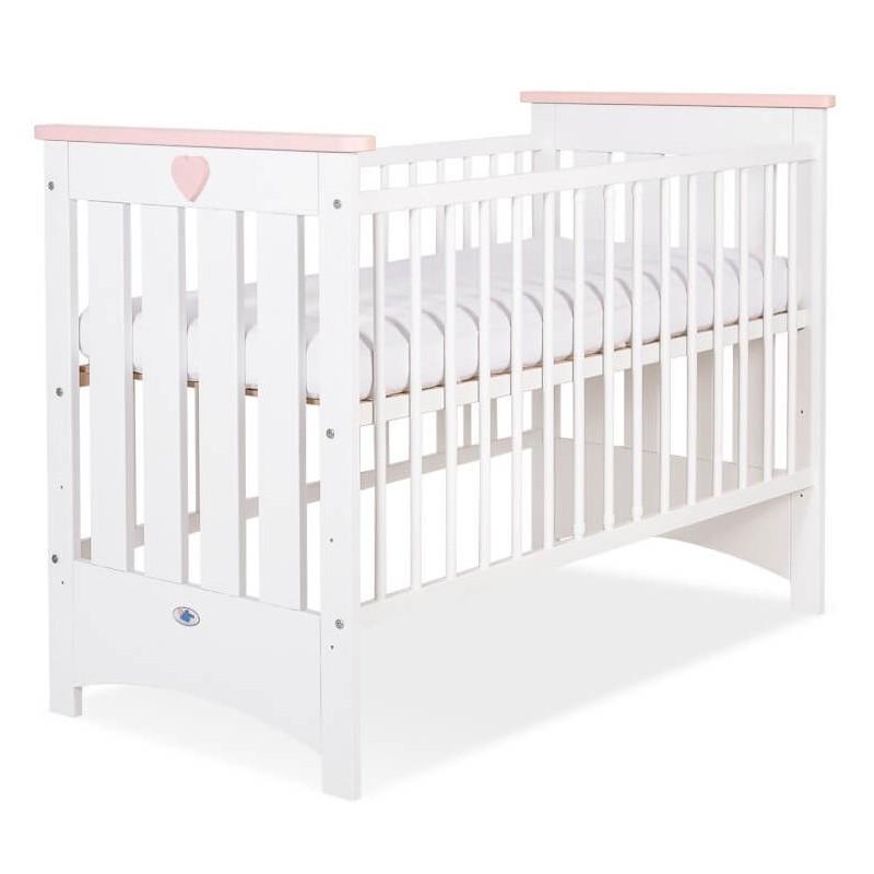 Vaikiška medinė lovytė LIZA, balta/rožinė