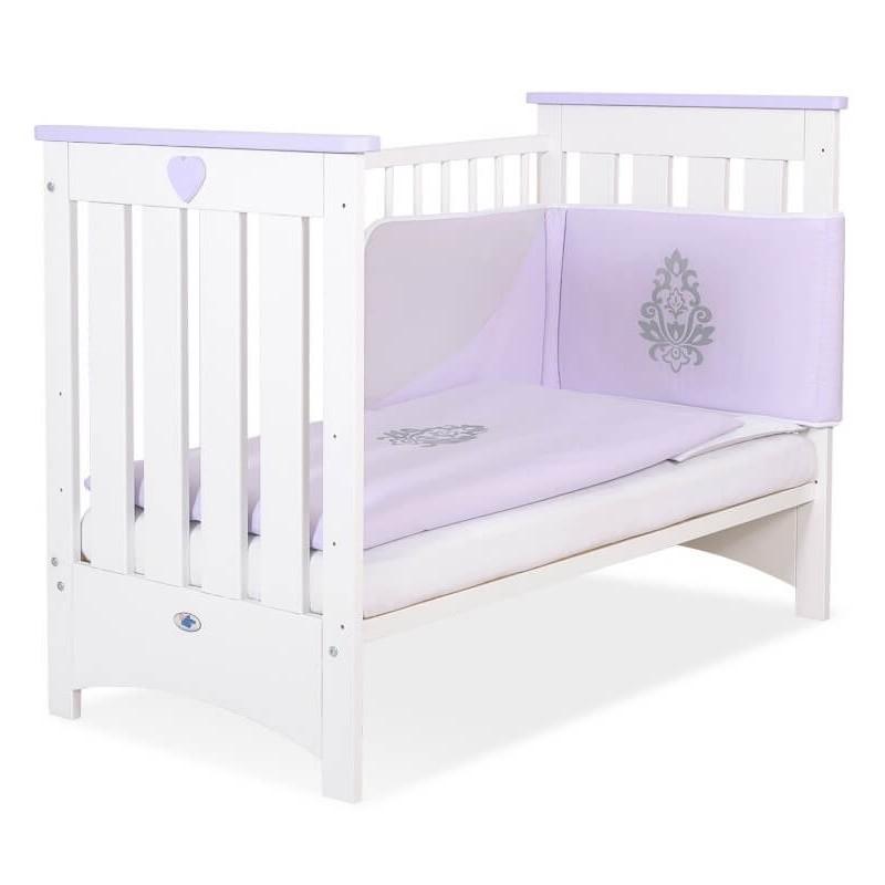 Vaikiška medinė lovytė LIZA, balta/purpurinė