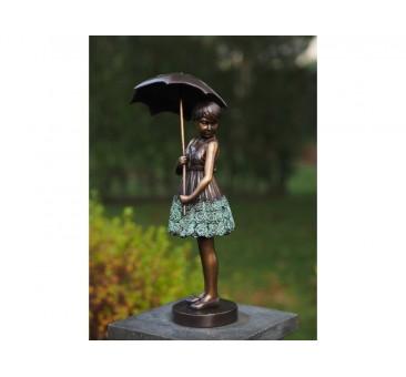 Sodo skulptūra H 45 cm Mergina su skėčiu