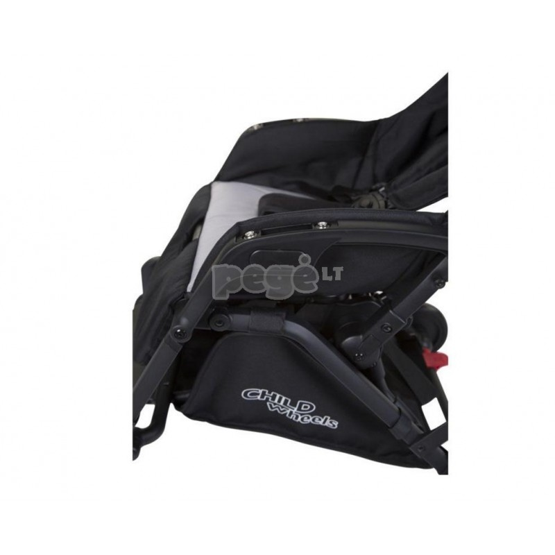 Vežimėlis CHILDHOME T-COMPACT BLACK STROLLER