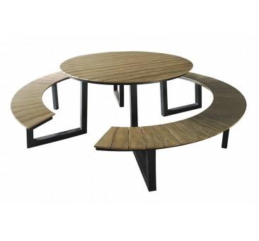 Apvalus lauko suoliukas su staliuku AREZZO ROND
