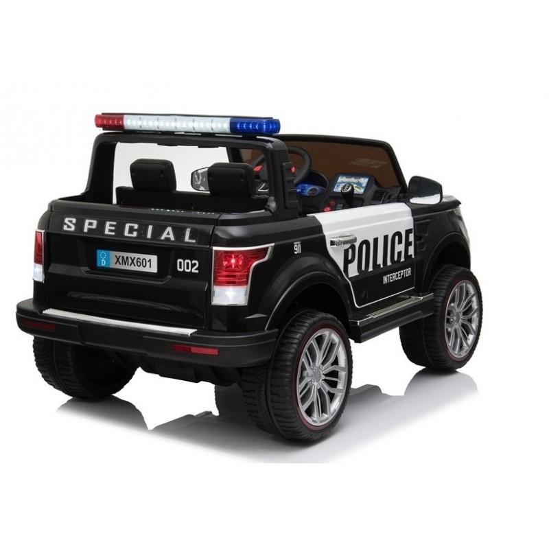 Policijos elektromobilis XMX601, dvivietis, 4x4, 12V, juodas