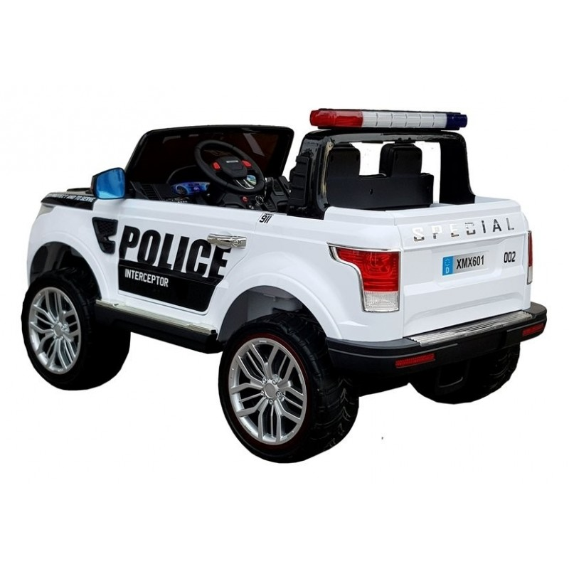 Policijos elektromobilis XMX601, dvivietis, 4x4, 12V, baltas