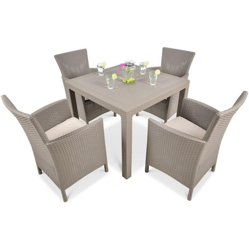 Lauko baldų komplektas MEKA 4+1 CAPPUCCINO