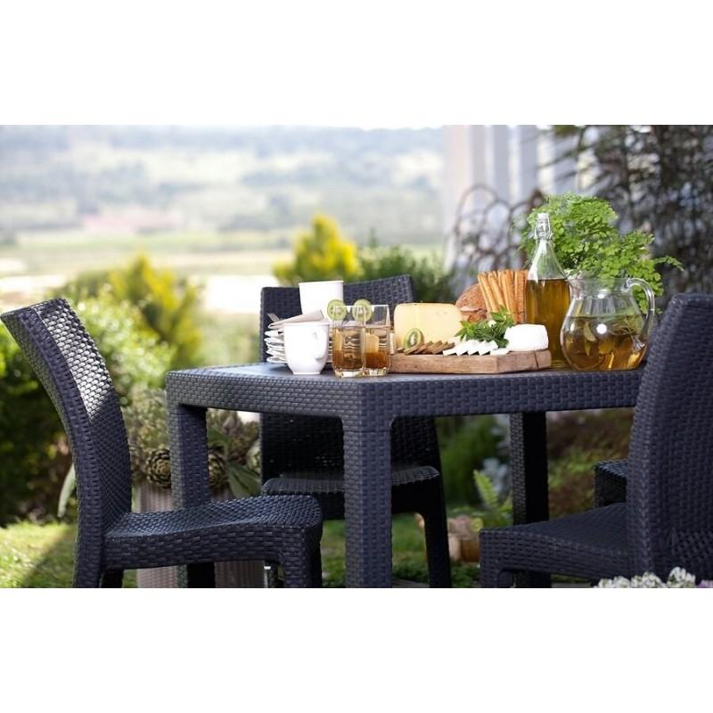 Lauko baldų komplektas MEKA DINING 4+1 GRAPHITE