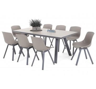 Lauko baldų komplektas MINOR SILVER/TAUPE 8 + 1
