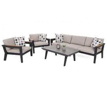 Lauko baldų komplektas MADAGASKAR BLACK/BEIGE MELANGE