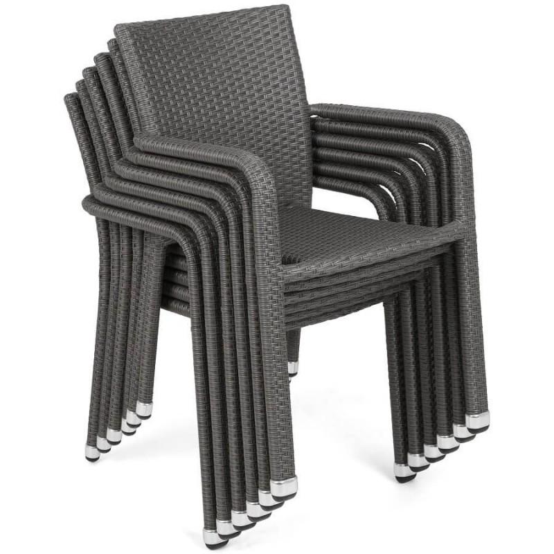 Lauko baldų komplektas SUBA DARK GREY, 6+1 su pagalvėlėmis