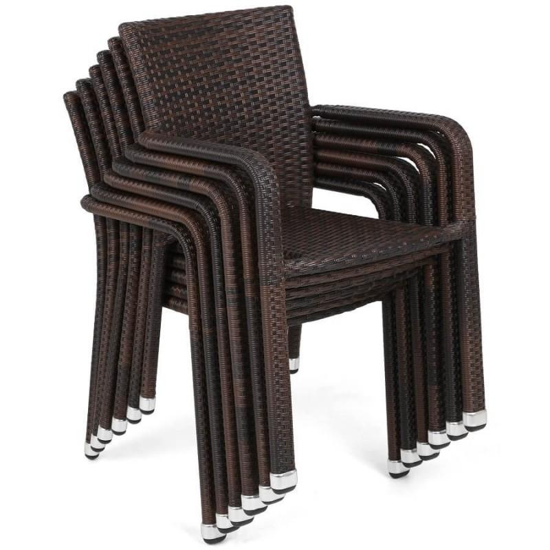 Lauko baldų komplektas SUBA BROWN, 6+1 su pagalvėlėmis