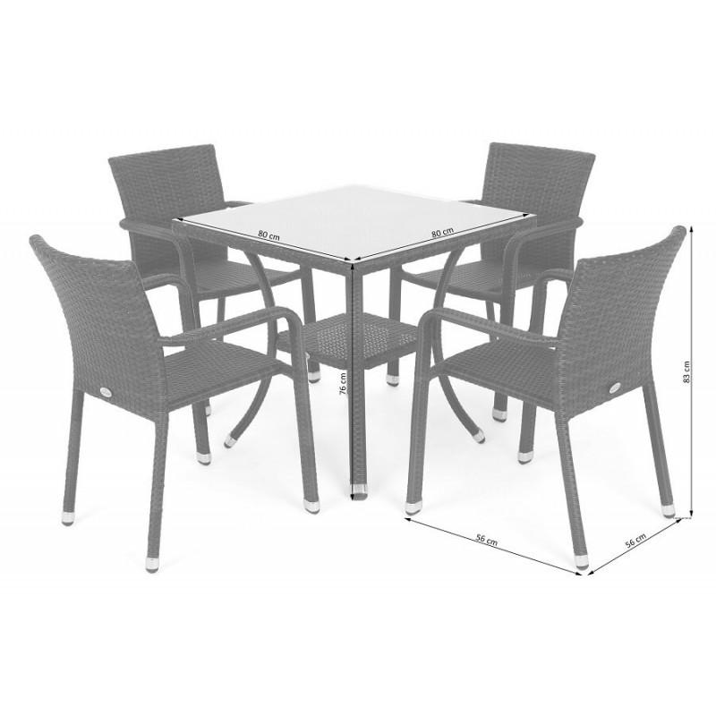 Lauko baldų komplektas SUBA BEIGE MELANGE, 4+1