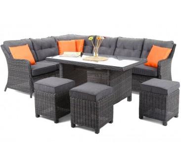Lauko baldų komplektas KALIFORNIA DINING GREY/GREY + pufai