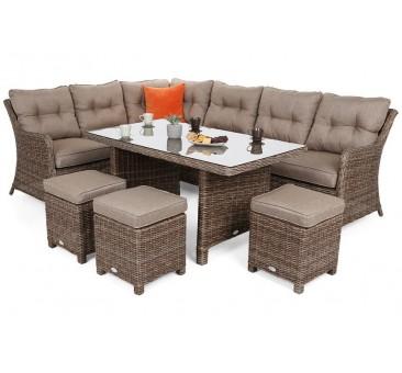 Lauko baldų komplektas KALIFORNIA DINING GINGER/BROWN MELANGE + pufai