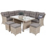 Lauko baldų komplektas KALIFORNIA DINING BEIGE/BEIGE MELANGE + pufai
